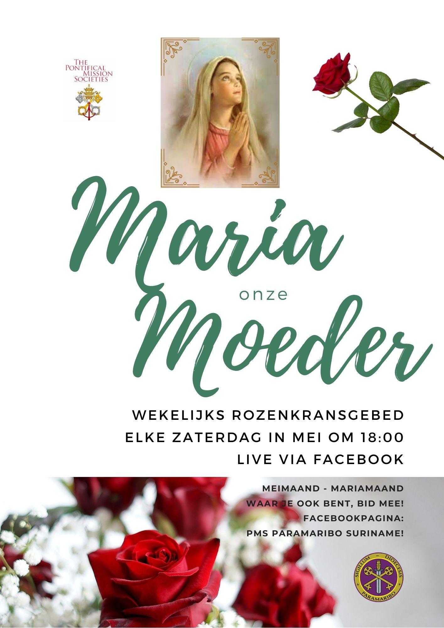 Wekelijkse rozenkransgebed op zaterdag om 18:00 via Facebook PMS Paramaribo Suriname